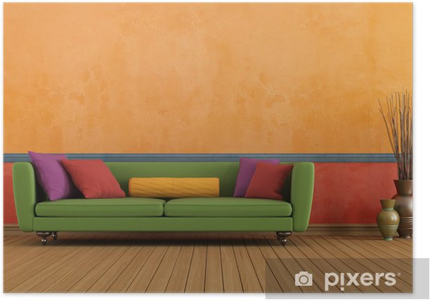 Green red and orange living room Poster