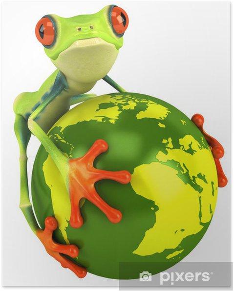 Poster Grenouille et planete terre - Signes et symboles