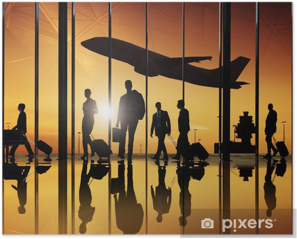 Group of Business People in the Airport for Business Travel Poster - Business Situations