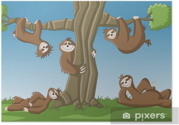 Group of cartoon brown sloths around a tree Poster - Mammals