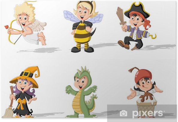 Group of cartoon kids wearing different costumes Poster - International Celebrations