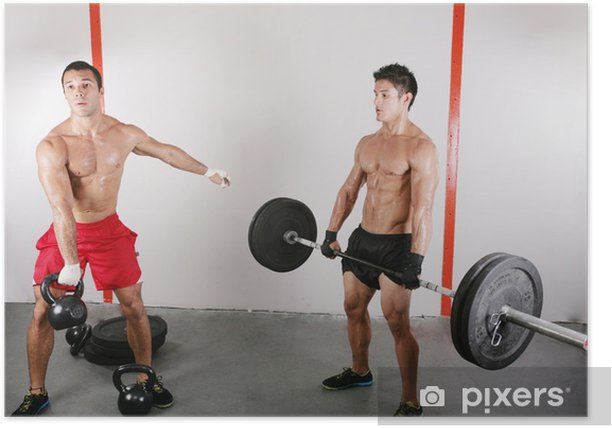 group with dumbbell weight training equipment on sport gym Poster