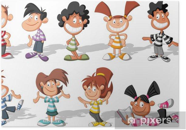 Poster Groupe d'enfants heureux de bande dessinée - Enfants