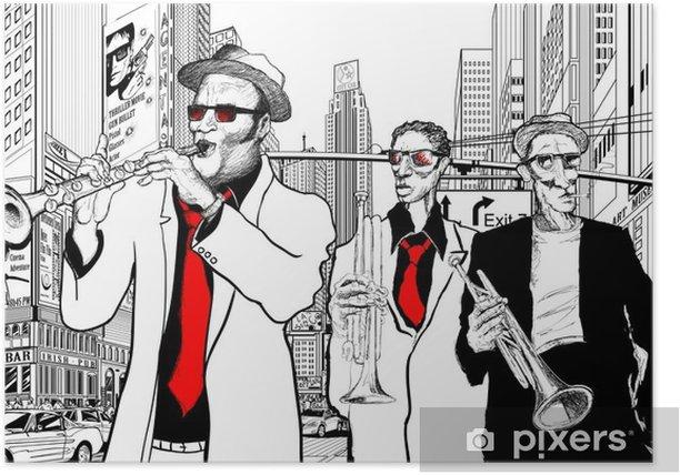 Poster Groupe de jazz dans une rue de New-York - Jazz