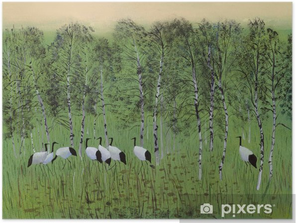 Poster Grues dans le marais - Passe-temps et loisirs
