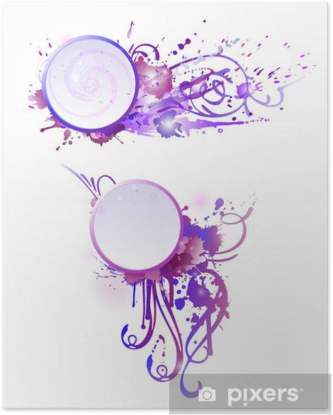 Poster Grunge avec des éclaboussures colorées. EPS 10 + jpg - Bonheur