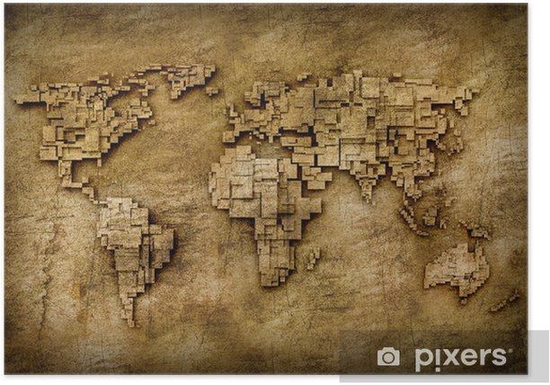 Poster Grunge carte du monde - Thèmes