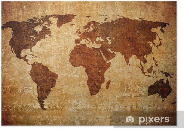 Poster Grunge kaart van de wereld - Thema's
