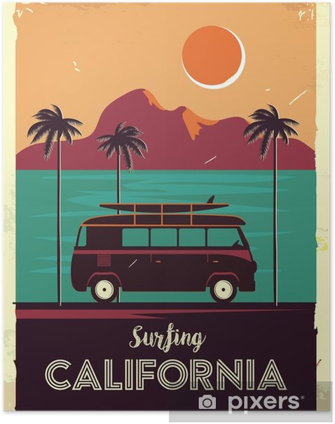 Grunge retro metal sign with palm trees and van. Surfing in California. Vintage advertising poster. Old fashioned design Poster - Landscapes