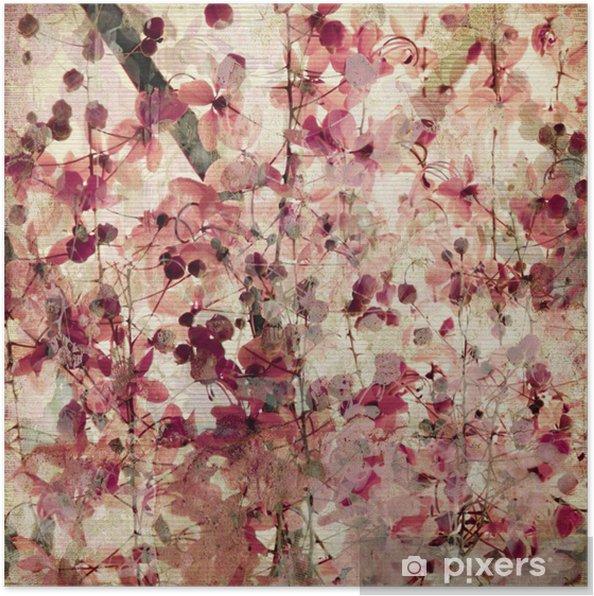 Poster Grunge rosa blossom bakgrund -