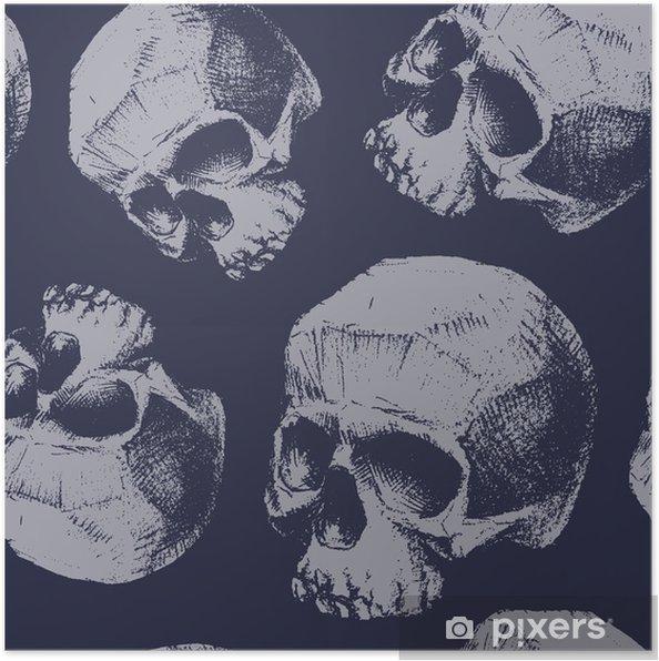 Póster Grunge seamless con los cráneos. - Recursos gráficos