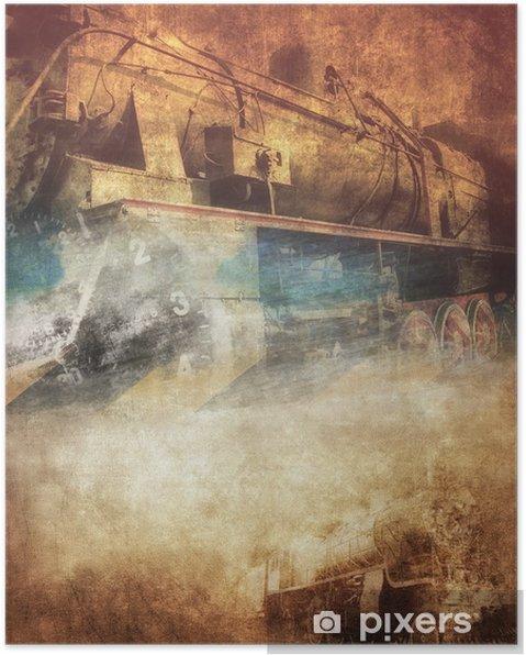 Poster Grunge stoomlocomotief, uitstekende achtergrond - Thema's