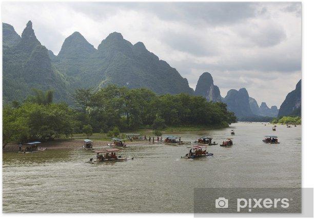 Poster Guilin montagnes karstiques paysage - Asie