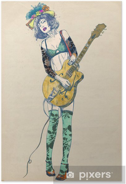 Guitar player - Exciting beauty. Poster - Jazz