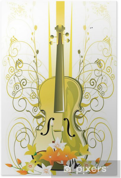 Guitar with in the floral designs Poster - Themes