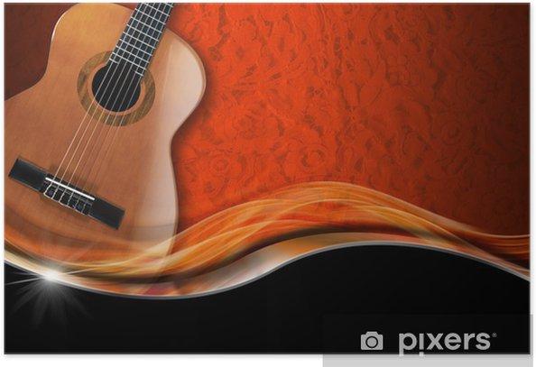 Poster Guitare acoustique sur fond de luxe - Thèmes