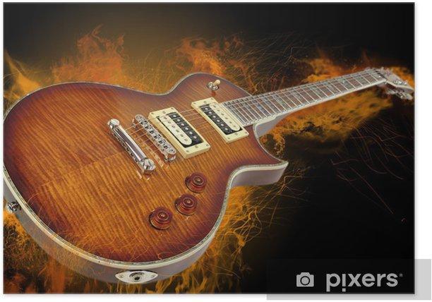 Guitarra en llamas Poster - Rock