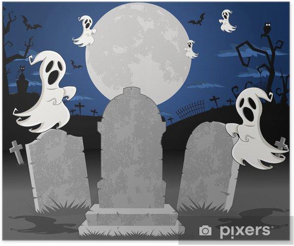 Poster Halloween Cimetière Avec Des Tombes Et Caractère Fantôme De Dessin Animé