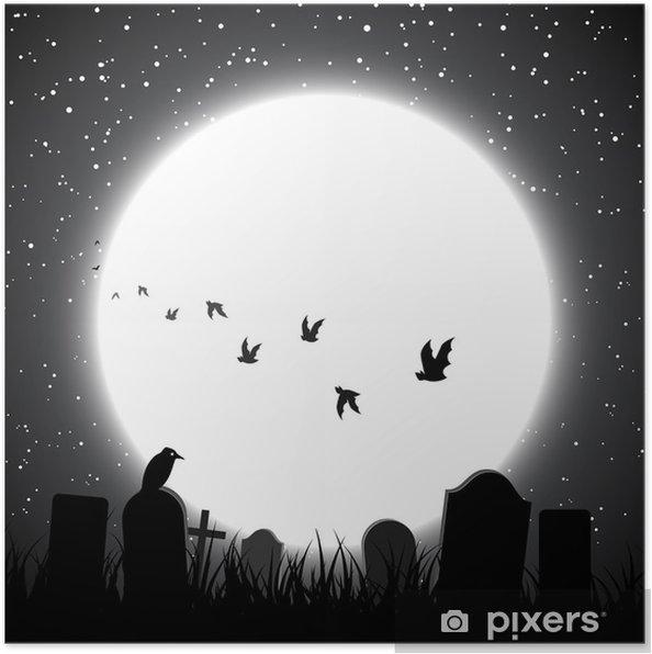 Poster Halloween Fond Avec La Pleine Lune Brille Sur Le Cimetière
