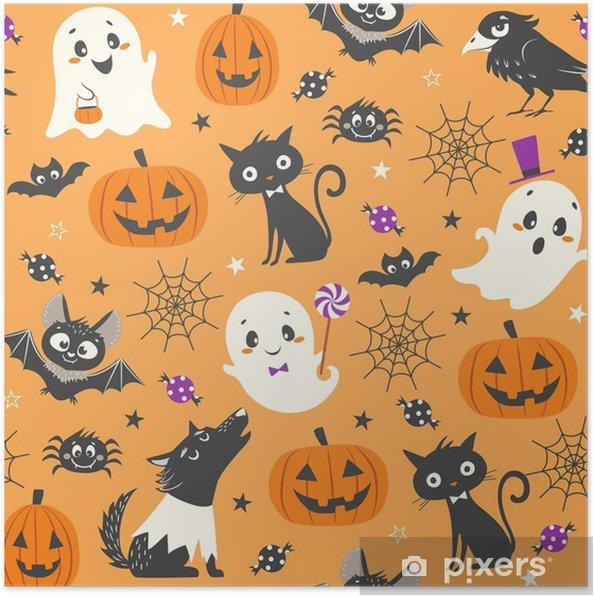 Halloween Snoep.Poster Halloween Naadloze Patroon Met Schattige Pompoenen Geesten Zwarte Kat Vleermuizen Raven Huid Wandelaar En Snoep Op Oranje Achtergrond