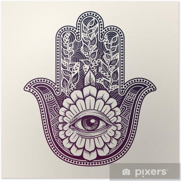 Poster Hamsa. de hand van Fatima, good luck symbool - Religie en Cultuur