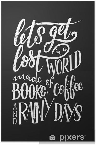 Poster Hand bokstäver citat med skisser för kafé eller café. handgjord vintage typografi samling isolerad på svart bakgrund - Grafiska resurser