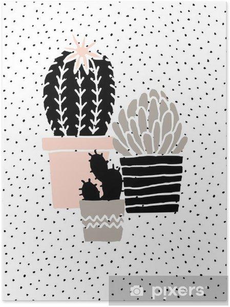 Poster Hand Drawn Cactus Affiche - Ressources graphiques