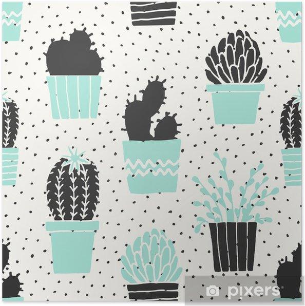 Poster Hand Drawn Cactus Pattern - Criteo