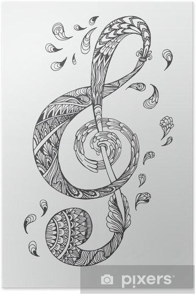 Poster hand drawn cl de la musique avec des ornements - Cle a colorier ...
