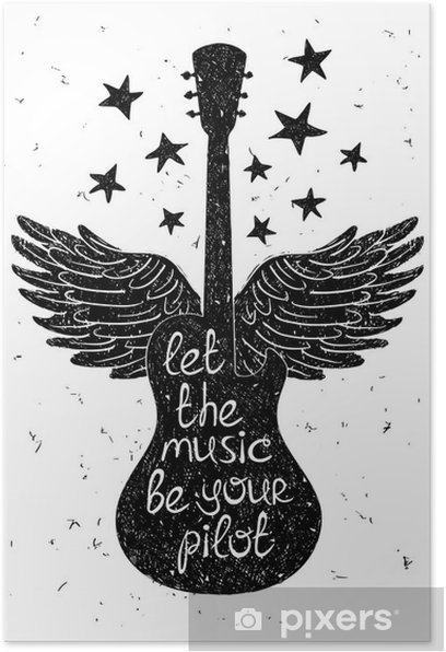 Hand drawn musical illustration with silhouettes of guitar. Poster - Hobbies and Leisure