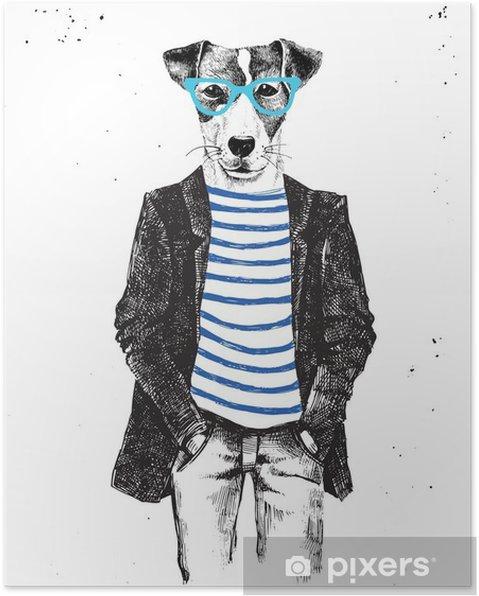 Poster Hand getrokken gekleed hond in hipster stijl - Dieren