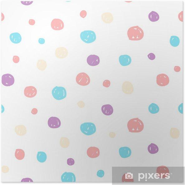 Poster Hand getrokken pastel naadloze patroon voor kinderen ontwerp. - Grafische Bronnen