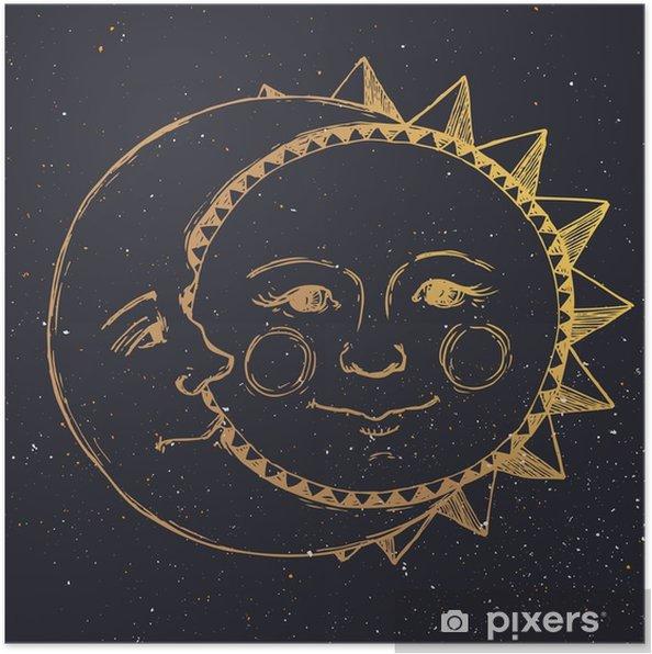 Poster Hand getrokken zon met maan - Grafische Bronnen