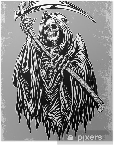 Hand Inked Grim Reaper Illustration Poster Pixers 174 We