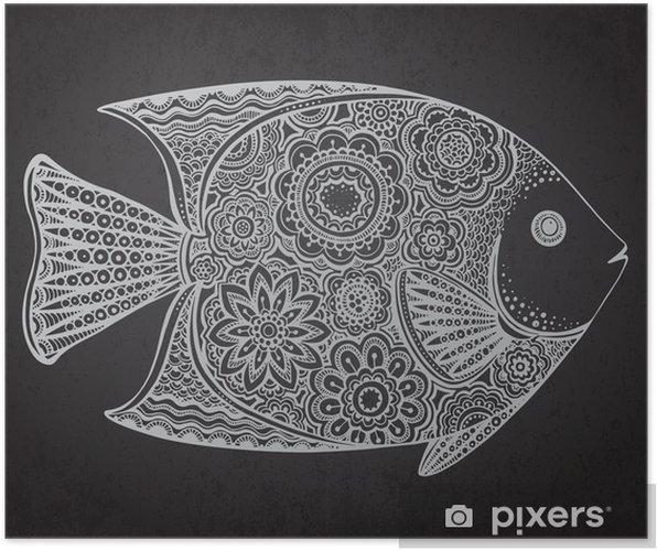Poster Handritad fisk med blommiga inslag - Djur