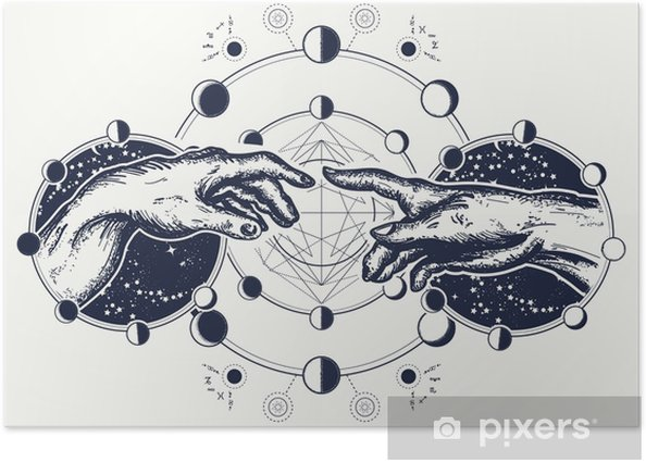 Hands tattoo Renaissance. Bog and Adam, symbol of spirituality, religion, connection and interaction. Michelangelo God's touch. Human hands touching with fingers tattoo and t-shirt design Poster - Graphic Resources
