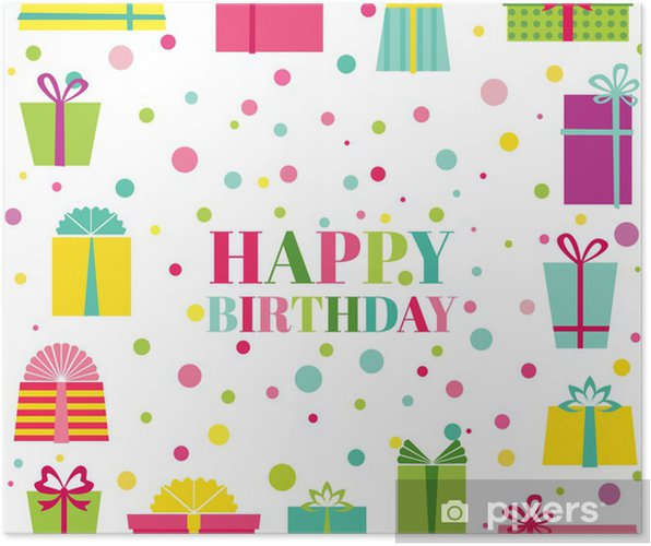 Happy Birthday And Party Invitation Card Poster