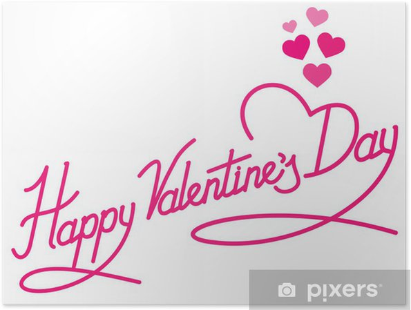 Happy Valentines Day Lettering With Hearts Poster Pixers We