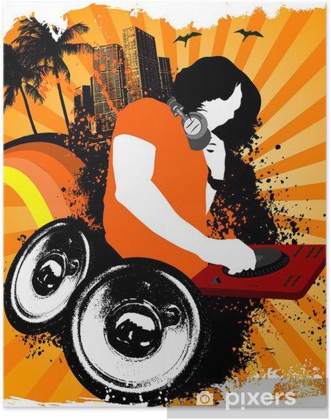 Poster Haut-parleurs grunge Dj - Musique