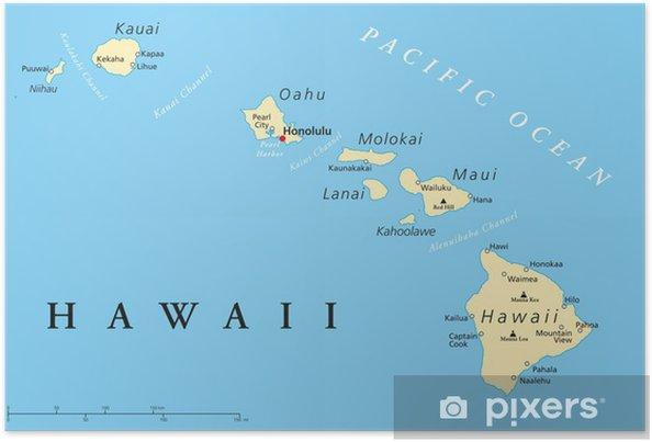 Poster Hawaï-eilanden Politieke Kaart - Thema's