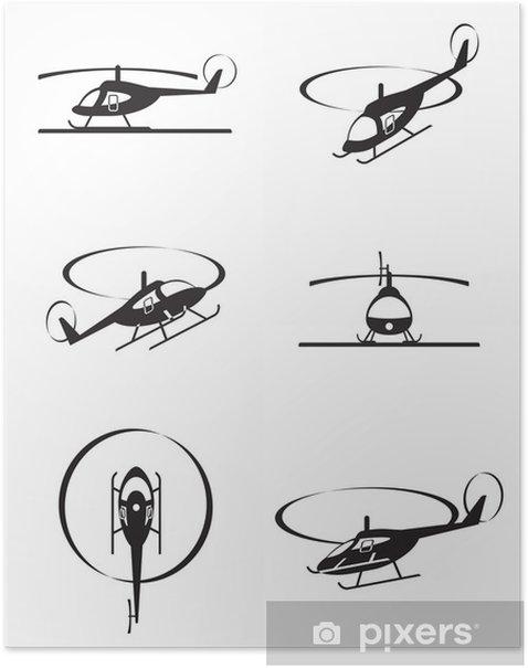 Poster Hélicoptères civils en perspective - illustration vectorielle - Dans les airs
