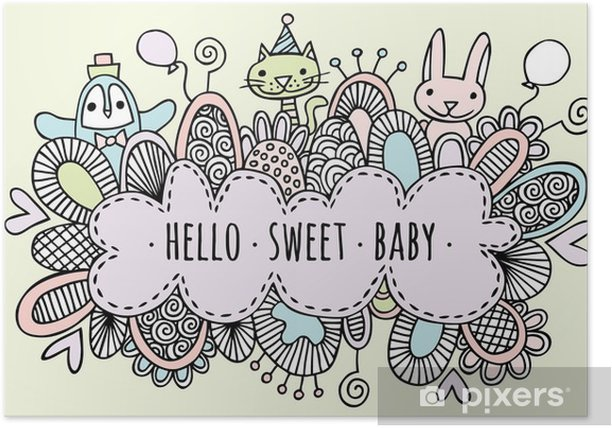 Hello Sweet Baby Hand Drawn Doodle Vector Lineart Poster - Lifestyle