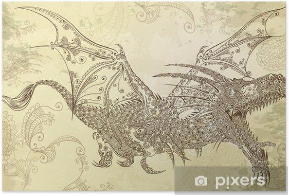 7322e0e5e Henna Tattoo Dragon Doodle Sketch Tribal Vector Poster • Pixers ...