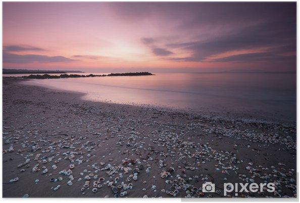 Póster Hermoso amanecer en la playa, cubierto con conchas de mar - Cielo