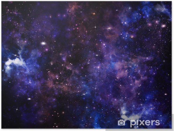 Póster Hermoso fondo de espacio, cielo nocturno con las estrellas - Destinos
