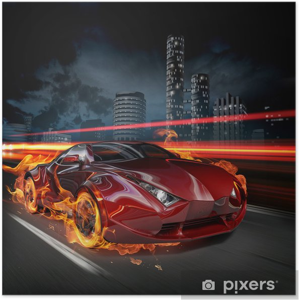 Poster Hete auto -
