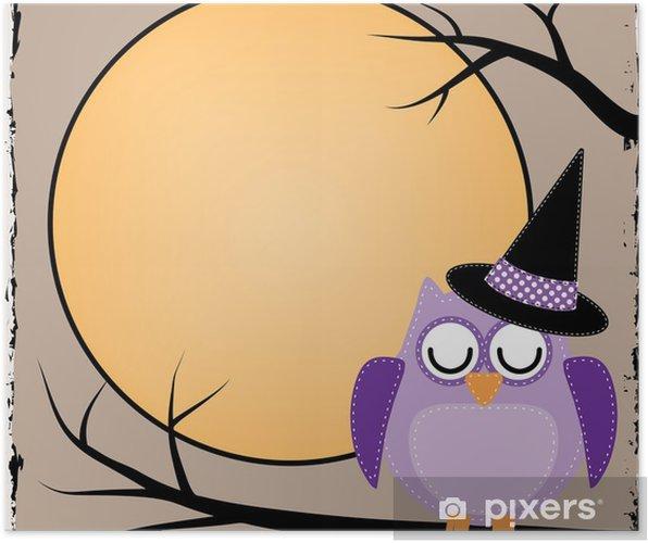 Poster Hibou de Halloween avec la lune - Thèmes
