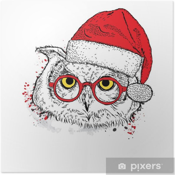 Poster Hibou mignon dans le chapeau de Noël et des lunettes de soleil. illustration vectorielle - Animaux