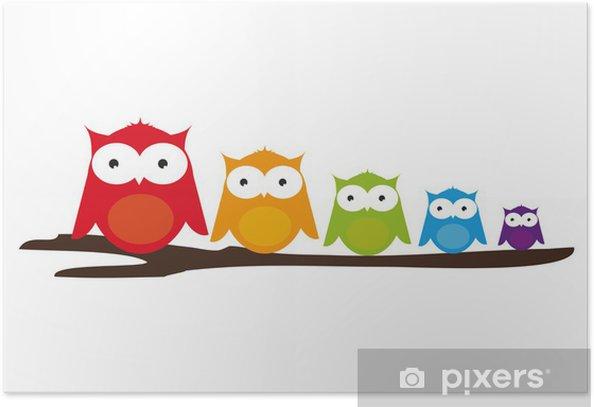 Poster Hibou sur une branche - Animaux imaginaires