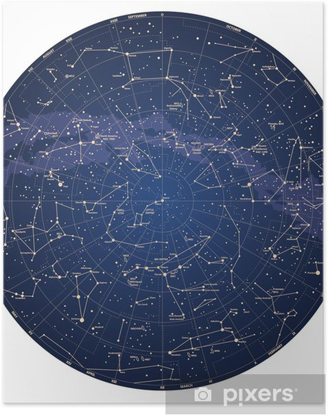 High detailed sky map of Northern hemisphere with names Poster on star map poster, constellation map poster, michigan lighthouse map poster,